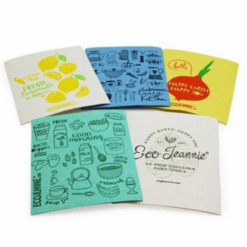EcoJeannie Eco-Friendly Cleaning Cloth 100% Biodegradable Cellulose Sponge Cloths, Kitchen Cloths, GMO Free - Made in Germany Packaged in P.R.C. (5 Pack)