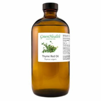 Thyme Red Essential Oil - 16 fl oz (473 ml) Glass Bottle w/ Cap - 100% Pure Essential Oil by GreenHealth
