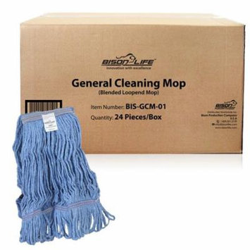 Bison Life Commercial Blend Mop, Universal Headband - Blue (Case of 24)