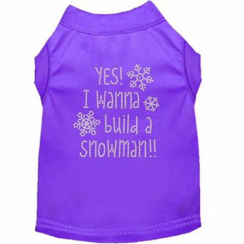 Yes! I Want To Build A Snowman Rhinestone Dog Shirt Purple Med (12)
