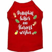 Pumpkin Kisses Screen Print Dog Shirt Red Lg (14)