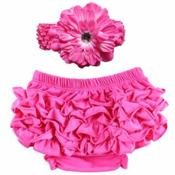 Baby Girl Cute Ruffle Bloomers Diaper Covers with Flower Headband (Rosy, M)