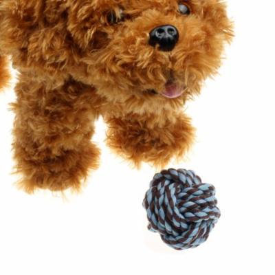 DZT1968Puppy Dog Cat Pet Toy Cotton Braided Knot Rope Chew Knot Chewing Toy BU