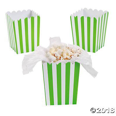 Mini Lime Green Striped Popcorn Boxes (pack of 1)