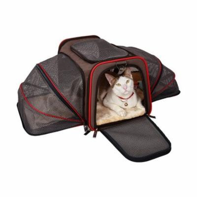 Aleko Heavy Duty Expandable Pet Carrier for Travel - Large - Brown