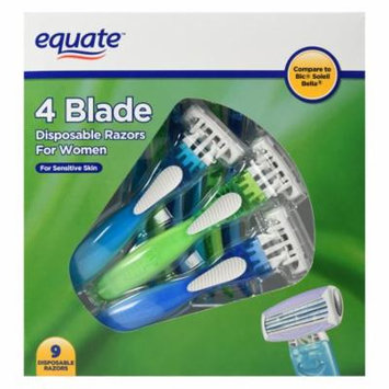 Equate 4 Blade Disposable Razors for Women, 9 Ct