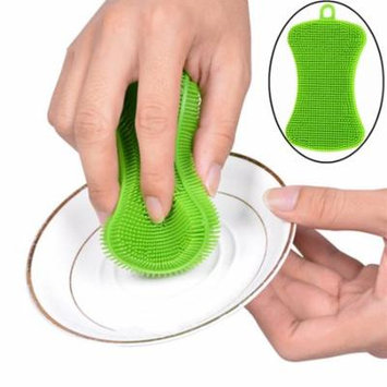 Womail 1Pc Silicone Dish Washing Sponge Scrubber Kitchen Cleaning Antibacterial Tool