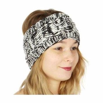 Womens Black White Melange Ribbed Edge Soft Trendy Knit Headband