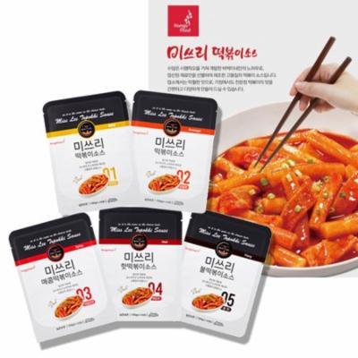 MISS LEE Korean Foods Topokki Ddeokbokki Stir-fried Rice Case Sauce, Level 4 Hot - Pack of 3