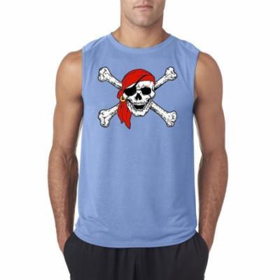 New Way 794 - Men's Sleeveless Jolly Roger Skull Crossbones Pirates Large Carolina Blue