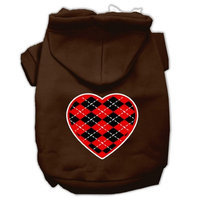 Mirage Pet Products Argyle Heart Red Screen Print Pet Hoodies Brown Size XS (8)