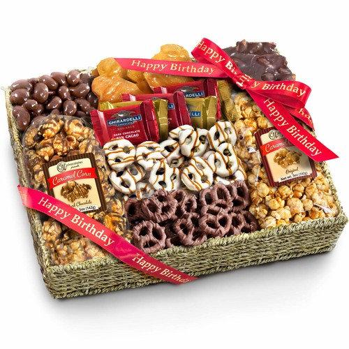 Golden State Fruit Chocolate Caramel & Crunch Grand Gift Basket, Happy Birthday [Birthday Insulated w Ice]