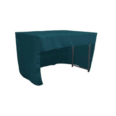LA Linen TCpop-OB-fit-48x24x30-TealDrkP82 1.42 lbs Open Back Polyester Poplin Fitted Tablecloth Dark Teal