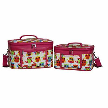 World Traveler Women's 2-Piece Cosmetic Case Set, Owl Pink