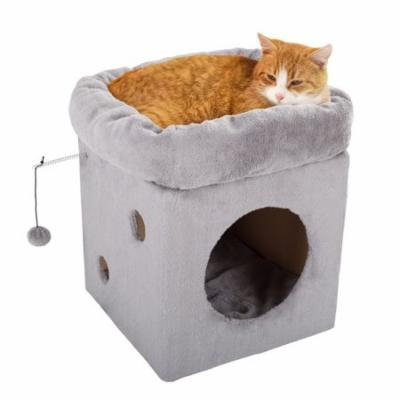 Cat Pet Bed/House with 2 Removable Plush Cushion Pads- Indoor Enclosed Covered Condo/Cavern for Cats, Kittens, and Small Pets by PETMAKER (Frost Gray)