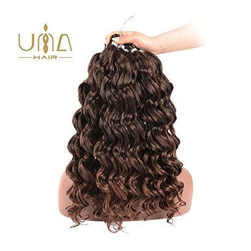 UNA 24 inch Ocean Wave Crochet Braids (36strands/Pack, 4Pack) Synthetic Crochet Hair Extension (T1B-30)