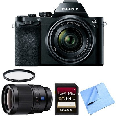 Sony a7K Full-Frame Mirrorless Camera with FE 28-70mm Lens 35mm Prime Lens Bundle