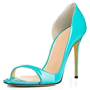 Women PU Exposed Toe Hand Pump Dress Shoes Black Nude Color Blue