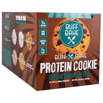 Buff Bake, Protein Cookie, Classic Chocolate Chip, 12 Cookies, 2.82 oz (80 g) Each(pack of 2)