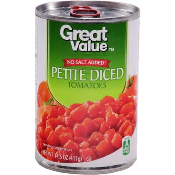 Great Value Petite Diced Tomatoes, No Salt Added, 14.5 Oz