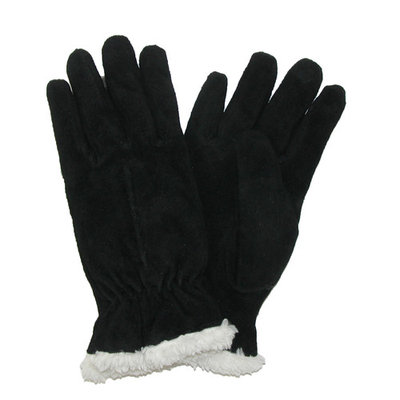 totes ISOTONER Size Xlarge Womens Suede with Sherpa Spill Winter Gloves, Black