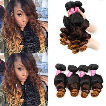 Mink Hair Ombre Hair Extensions (14 16 18) Brazilian 3 Tone Ombre Loose Wave Hair Bundles 8A Virgin Human Hair Weave 1B/4/27 Color 100g/bundle
