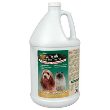 NaturVet Ear Wash Plus Tea Tree Oil for Dogs and Cats, Liquid, Made in USA