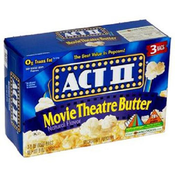 Movie Theatre Butter Popcorn - Best Value In Popcorn, 3 bags,(ACT II)
