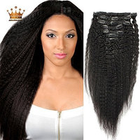 12inch-28inch 100% Virgin Human Hair Afro Kinky Straight Clip in Hair Extension for Black Women, Unprocessed 6a Grade 7 Pieces/ Set Natural Color (14