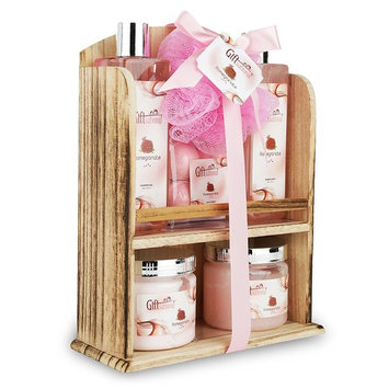 Spa Gift Basket With Lovely Pomegranate Fragrance - Bath set Includes Shower Gel, Bubble Bath, Bath Bombs and More! Great Graduation, Birthday, Anniversary, or Wedding Gift Set for Women and Girls