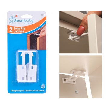 Atb 2 Pc Dreambaby Twin Pin Latch Cabinet Drawer Door Child Baby Safety Lock New!