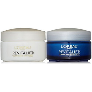 L'Oreal Paris RevitaLift Anti-Wrinkle + Firming Bundle: Day Cream SPF 18 + Night Cream, 1.7 Ounce Each