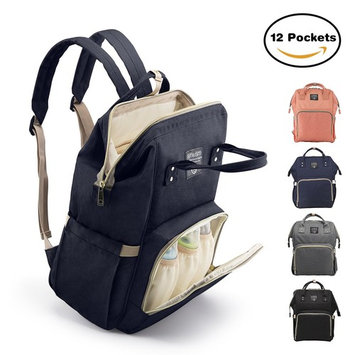 Diaper Bag Backpack, Large Capacity for Baby Care, Individual Functional Pockets & Fashion Design, Wide Open Design and Waterproof Fabric - Dark Blue