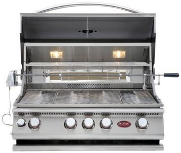 Cal Flame BBQ13874CP Built-In 4 Burner Convection Grill with 60 000 BTUs of Heat 800 sq. in. Cooking Surface Lights and Thermometer in Stainless