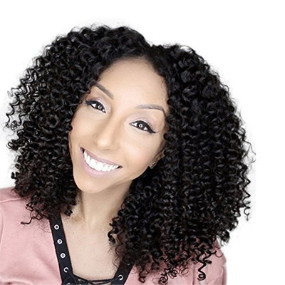 Kinky Curly Lace Front Wigs Human Hair Middle Part Remy Hair Glueless Wig Pre Plucked Baby Hair for Black Women (20 inch, 130 Density Lace Front Wig)