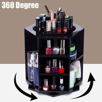 360 Degree Rotating Make Up Holder,Tidy Organizer Cosmetic Display Brush Lipstick Storage Stand Box,Black