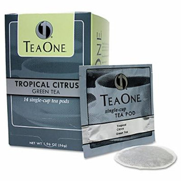 JAVA TRADING CO 20700 Tea Pods, Tropical Citrus Green, 14/Box