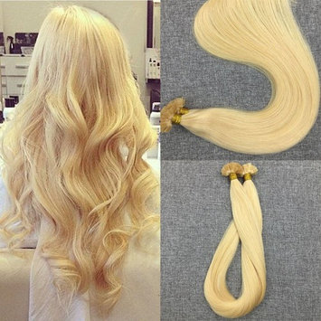 Moresoo Flat Tip Hair Extensions 16 Inch Color 613 Bleach Blonde Keratin Extensions Remy 50s 50g Bonded Hair Extensions Human Hair
