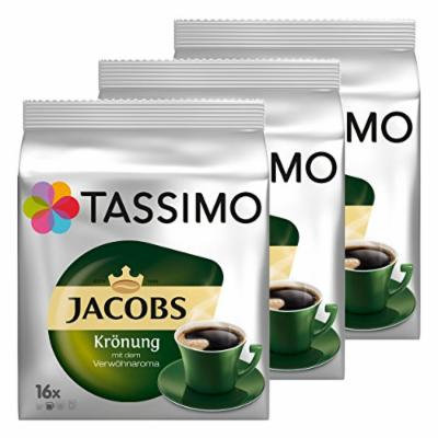 Tassimo Jacobs Krönung, Rainforest Alliance Vérifié, Lot de 3, 3 x 16 T-Discs