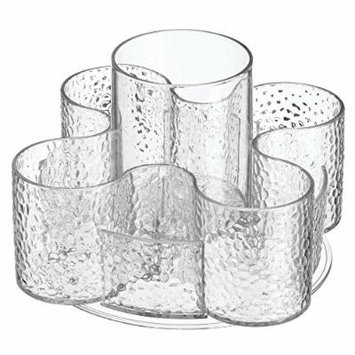 InterDesign 52759 Rain Cosmetic Organizer Spinner for Vanity Cabinet to Hold Makeup, Hair Brushes, Beauty Products - Clear