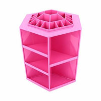 Yosoo Rotating Acrylic Cosmetic Revolving Makeup Organizer Cosmetics Storage Holds 360-degree Spinning Great for Salons or for Cosmetic Divas (Pink)