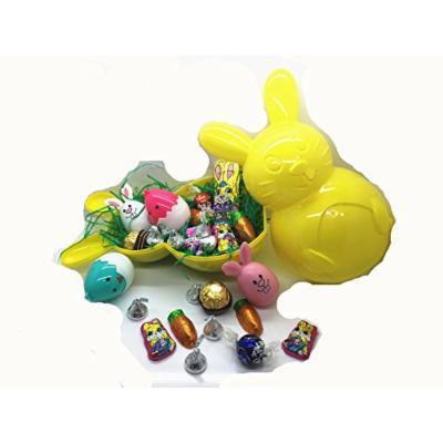 Easter Bunny Shape Bucket With Bunny Chocolate Bunny Face Eggs Lindt Lindor Chocolate Ferrero Rocher Chocolate and Hershey's Kiss Milk Chocolate (Pink)