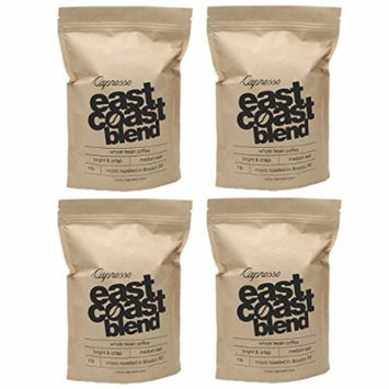Capresso East Coast Blend Whole Bean Coffee 1 Pound (Espresso Roast 4 Pack)