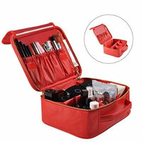 Portable Travel Makeup Bag, Waterproof Makeup Train Case Cosmetic Organizer Kit Artists Storage for Cosmetics, Makeup Brush Set, Toiletry And Travel Accessories(Small,Red)