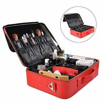 Portable Travel Makeup Bag, Waterproof Makeup Train Case Cosmetic Organizer Kit Artists Storage for Cosmetics, Makeup Brush Set, Toiletry And Travel Accessories(Medium,Red)