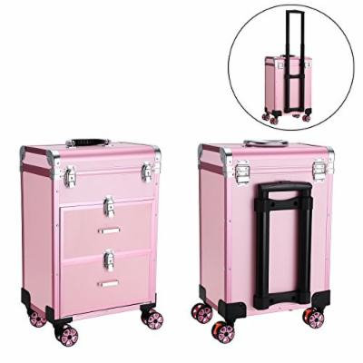Homdox 3 Tier Rolling Makeup Organizer Drawers Multifunctional Beauty Salon Cosmetic Organizer Case Aluminum Alloy Frame Pink (US STOCK)