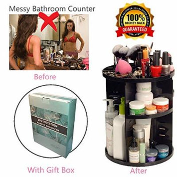 360 Degree Rotating Makeup Organizer,Bathroom Cosmetic Storage Makeup Organizer,Beauty Makeup Holder for transformed bathroom(black)