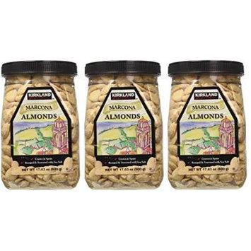 Kirkland ZArJNT Marcona Almonds, Roasted and Seasoned with Sea Salt, 17.63 Ounce (3 Pack)
