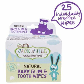 Jack n' Jill, Natural Baby Gum & Tooth Wipes, 25 Individually Wrapped Wipes(pack of 2)