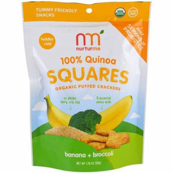 NurturMe, 100% Quinoa Squares, Organic Puffed Crackers, Banana + Broccoli, 1.76 oz(pack of 6)